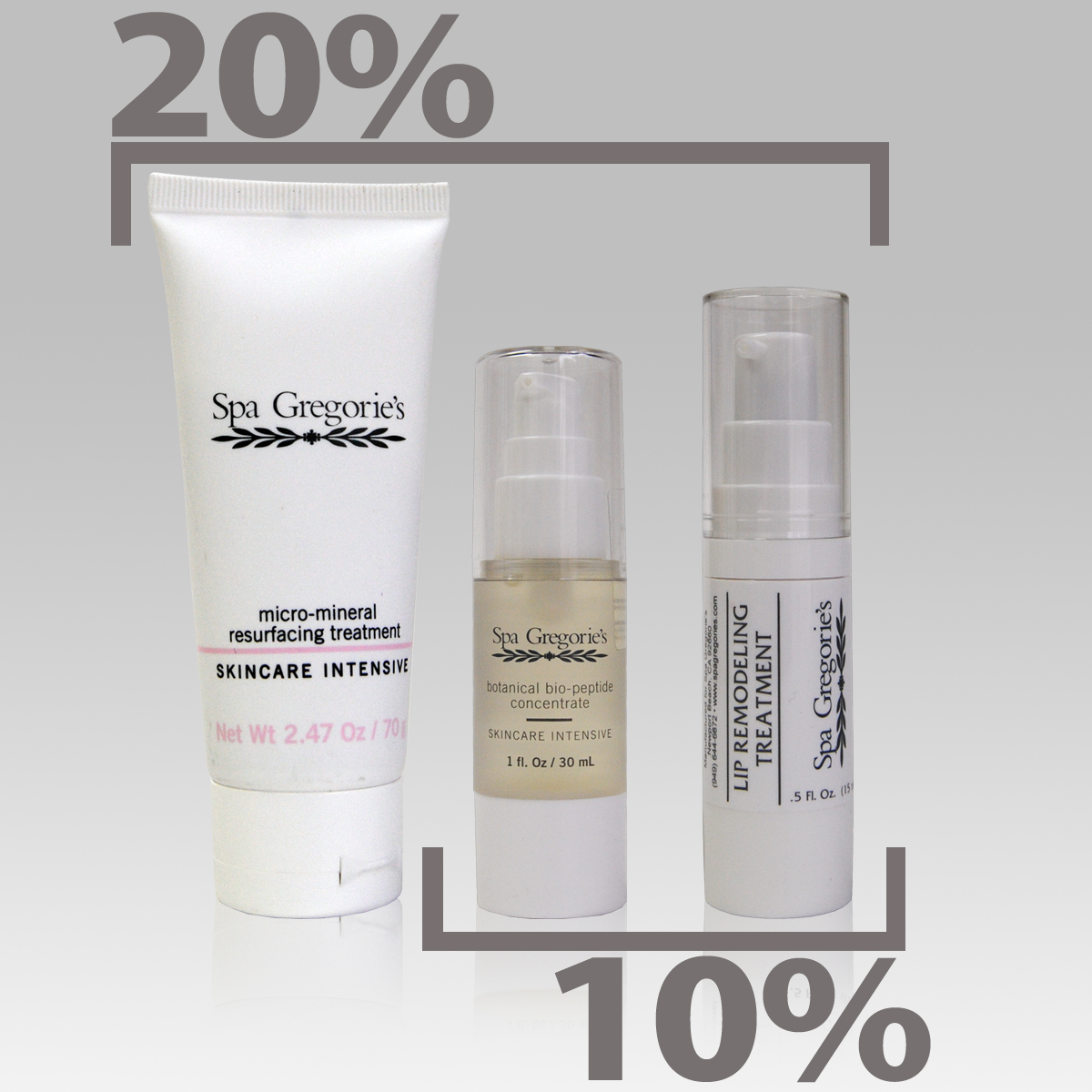 Image of 3 spa gregorie's products. 2 products 10% off, 3 products 20% off.
