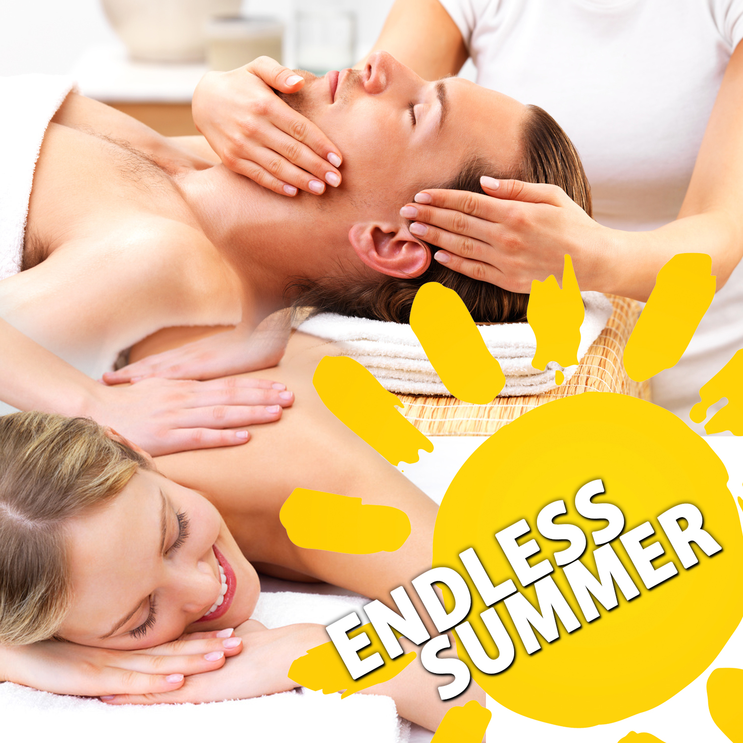 "Picture of a man getting a facial and a woman getting a massage with the words ""endless summer"" overlaid."
