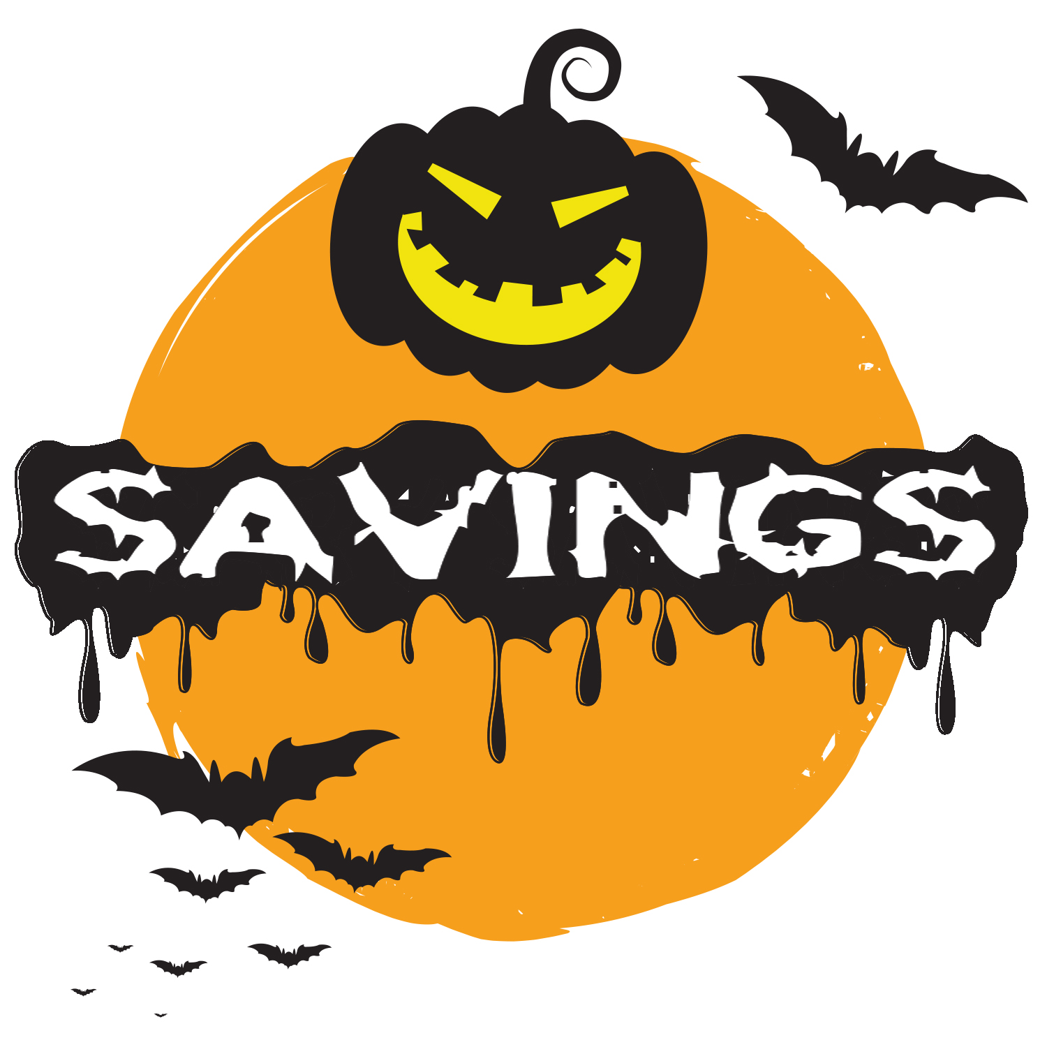 "Halloween Graphic with the word ""Savings"" in front of it."