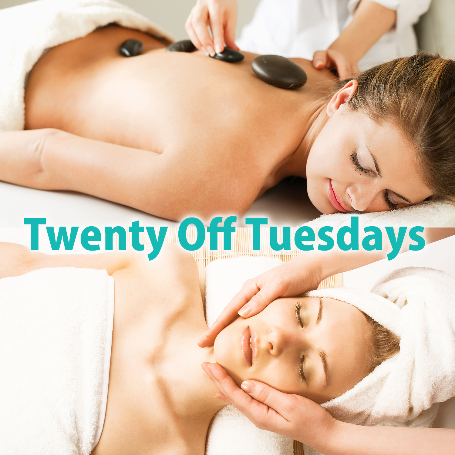 Image of a woman getting a massage and a woman getting a facial.