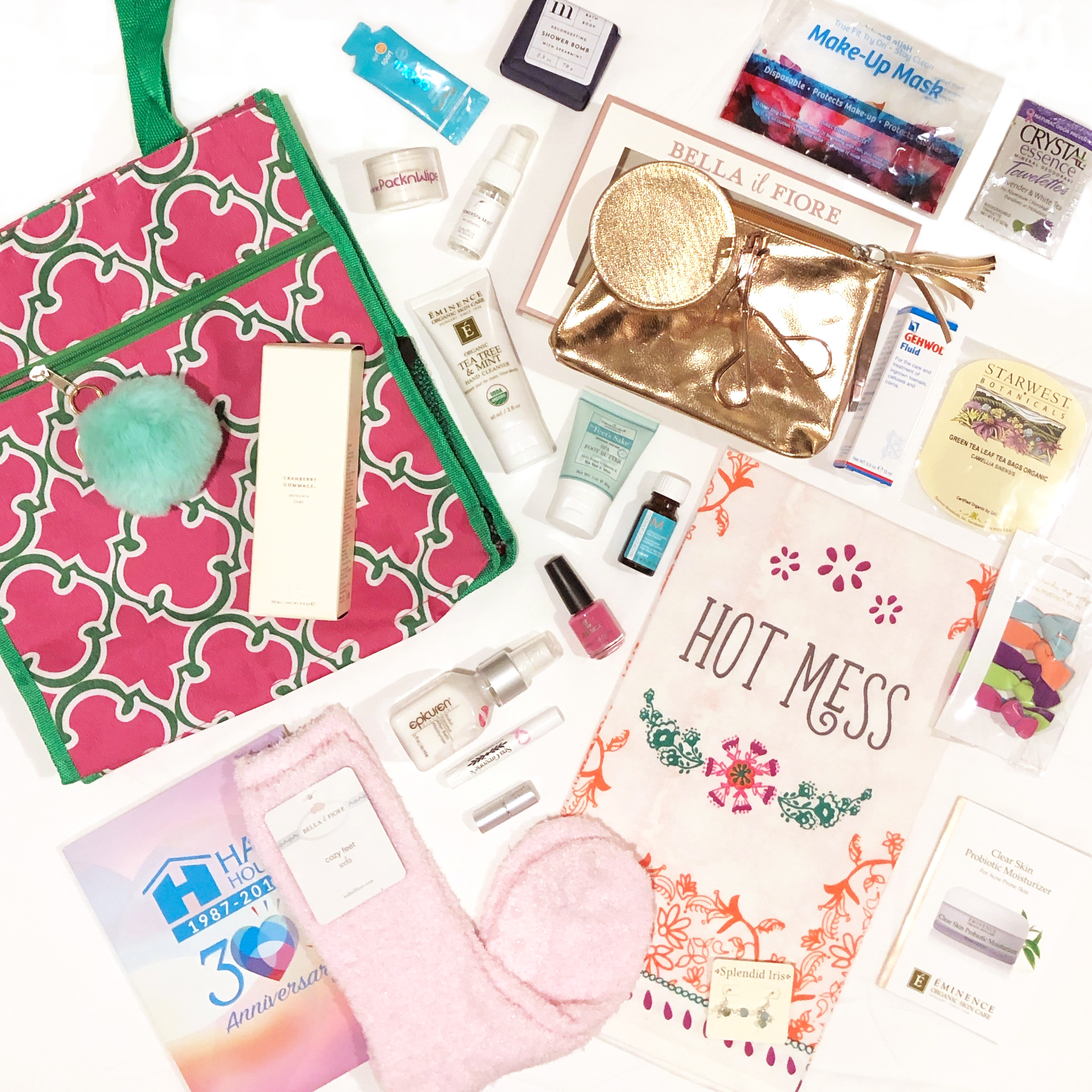 A flat lay of all of our products included in our 2018 Swag Bag for the Cure.