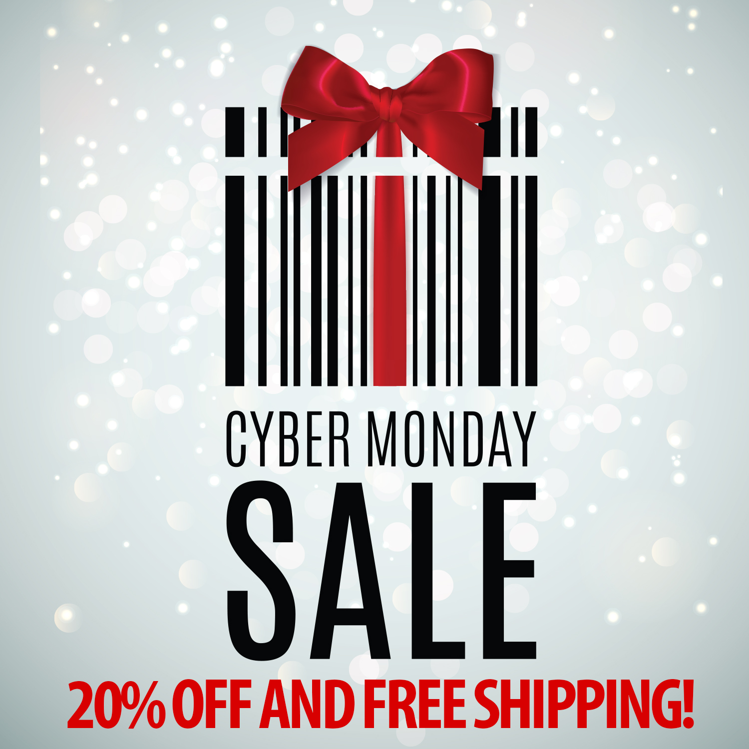 cyber monday sale 20% off and free shipping