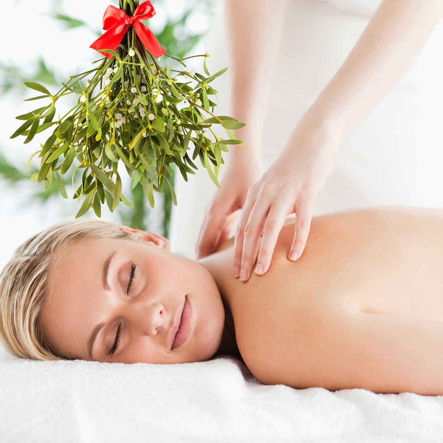 image of woman getting a massage with mistletoe hanging above her head.